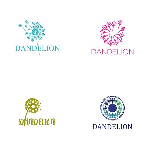 Dandelion logo Vettore Premium