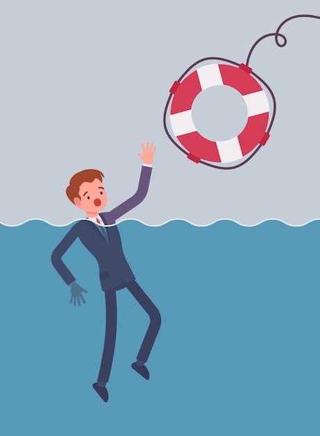 Dare un salvagente per annegare l'uomo d'affari Vettore Premium