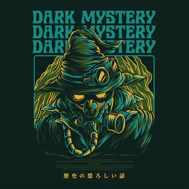 Dark mystery illustration Vettore Premium