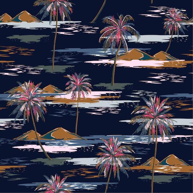 Dark summer night seamless island pattern paesaggio con palme colorate Vettore Premium