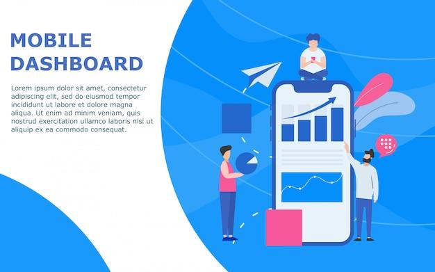 Dashboard mobile e modello di statistiche Vettore Premium