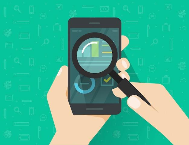 Dati di analisi sullo schermo del cellulare o dello smartphone tramite fumetto piano di vetro vettoriale lente di ingrandimento Vettore Premium
