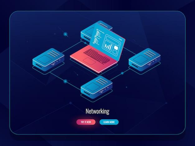 Dati internet isometrici, elaborazione e analisi delle informazioni, routing del traffico del computer portatile, elaborazione Vettore gratuito