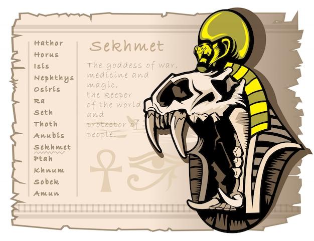 Dea della guerra sekhmet nell'antico mondo egiziano Vettore Premium
