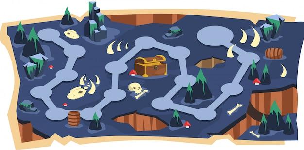 Deadly cave mappe di gioco 2d con path e purple land Vettore Premium