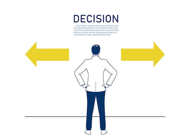Decisione dell'uomo d'affari per scegliere in quale direzione. Vettore Premium