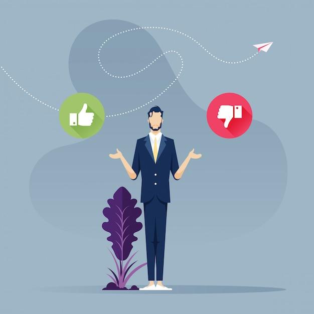 Decisione difficile - uomo d'affari con il segno sì o no Vettore Premium