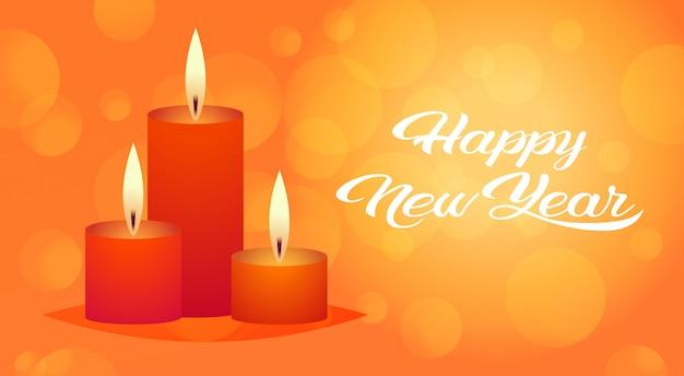 Decorativo candela rossa icona buon anno buon natale decorazione vacanza auguri piatta Vettore Premium