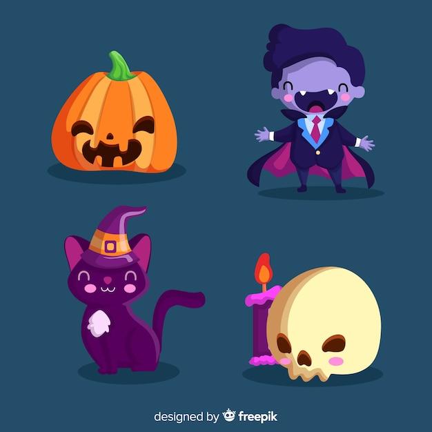 Decorazione carina per la festa di halloween Vettore gratuito