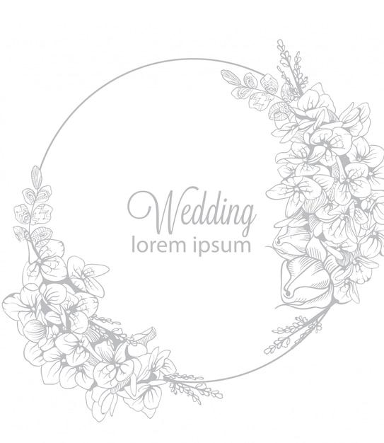 Decorazione della corona di fiori d'epoca boho Vettore Premium