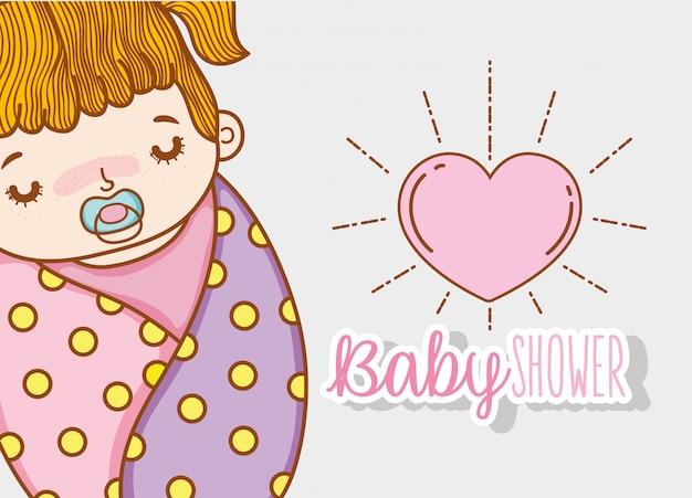 Decorazione della doccia e del cuore della neonata Vettore Premium