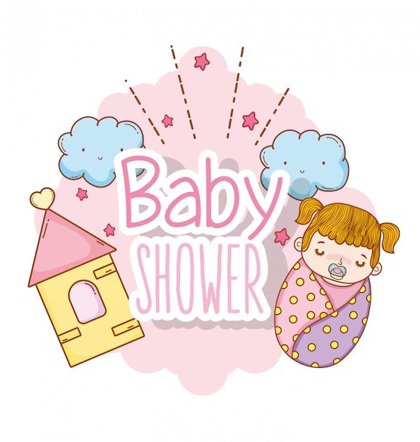 Decorazione della doccia e delle nuvole e delle stelle della neonata Vettore Premium
