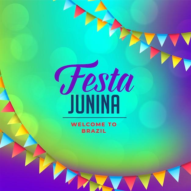 Decorazione di bandiere per sfondo festa junina Vettore gratuito
