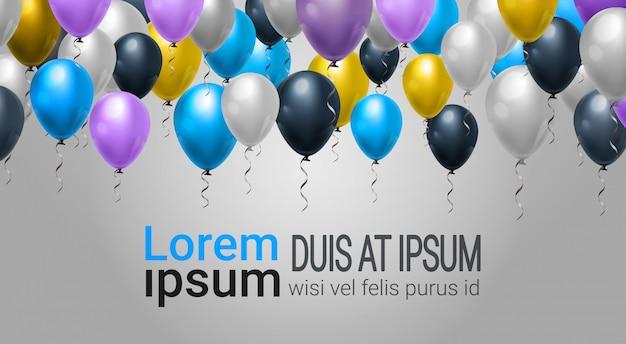 Decorazione di festa di web con i palloni per il modello del partito, della celebrazione o del festival sopra il fondo Vettore Premium