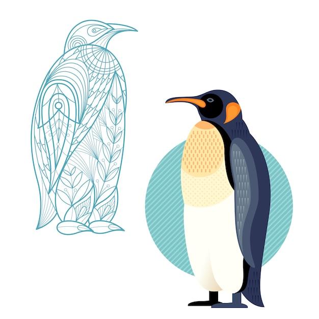 Decorazione e pinguino piatto. Vettore Premium