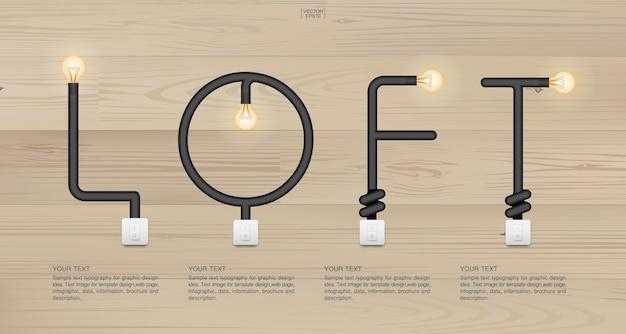 Decorazione in legno simbolo decor illuminazione illuminata Vettore Premium