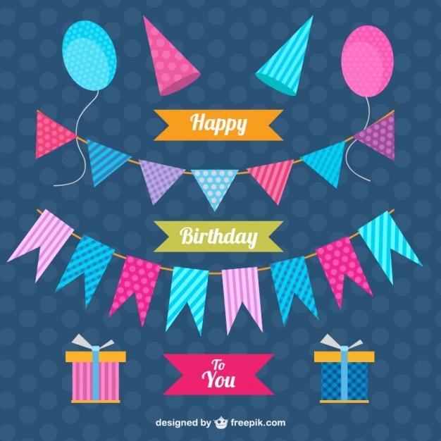 Decorazione set di compleanno Vettore gratuito