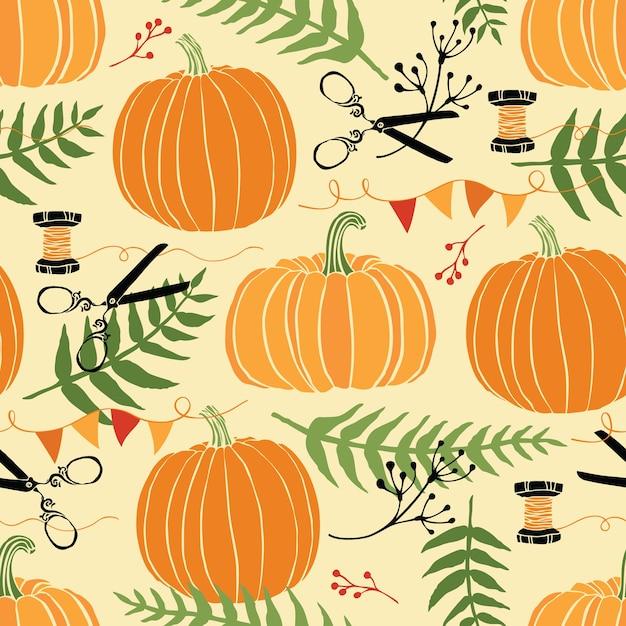 Decorazioni festive, zucche e felci Vettore gratuito