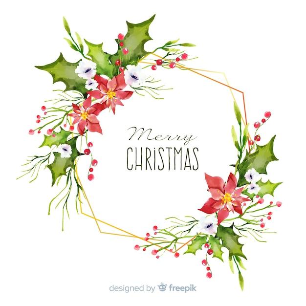Decorazioni natalizie ad acquerello Vettore gratuito