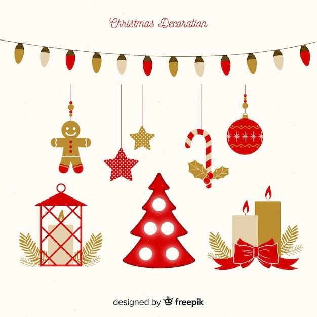 Decorazioni natalizie in design piatto Vettore gratuito