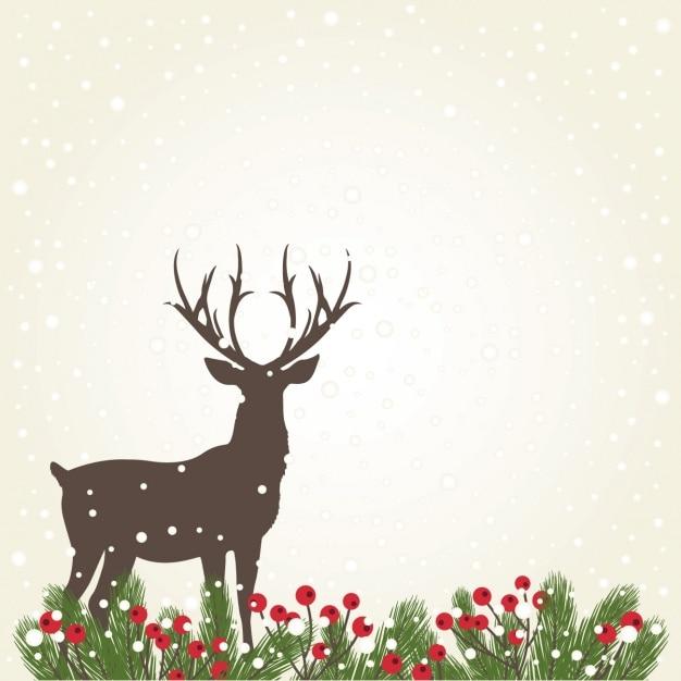 Deer sfondo silhouette con la neve Vettore gratuito