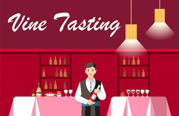 Degustazione di vino in banner piatto vettoriale ristorante Vettore Premium