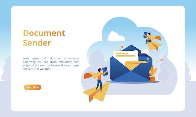 Del mittente del documento per le landing page aziendali Vettore Premium