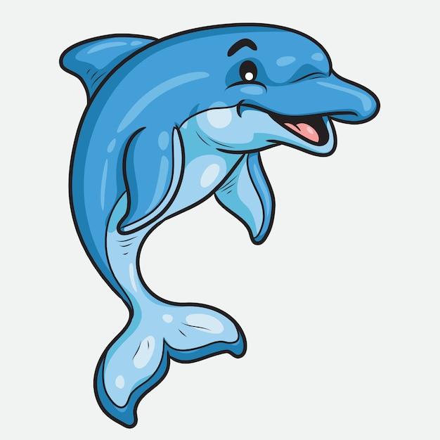 Delfino cute cartoon Vettore Premium