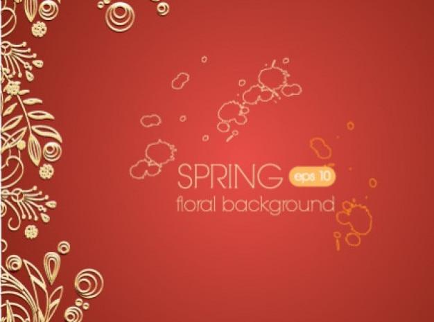 Delicato minimal floreale sfondo rosso Vettore gratuito