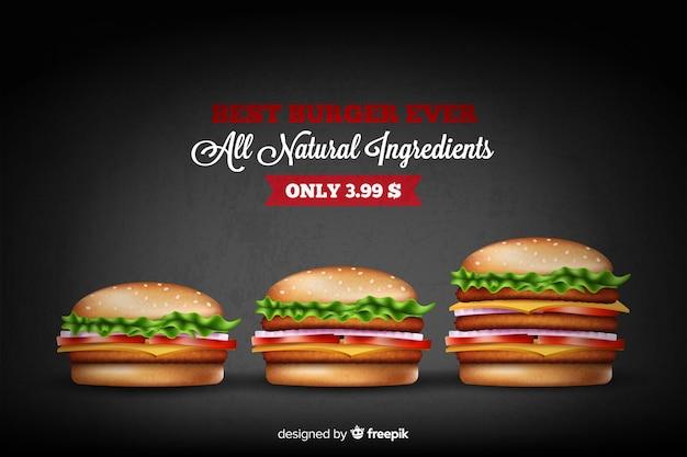 Delicious hamburger pubblicitario Vettore gratuito
