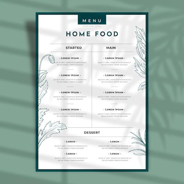 Delinea il menu del ristorante con fiori e foglie Vettore gratuito