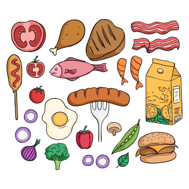 Deliziosa collezione di cibo per il pranzo con uno stile colorato Vettore Premium