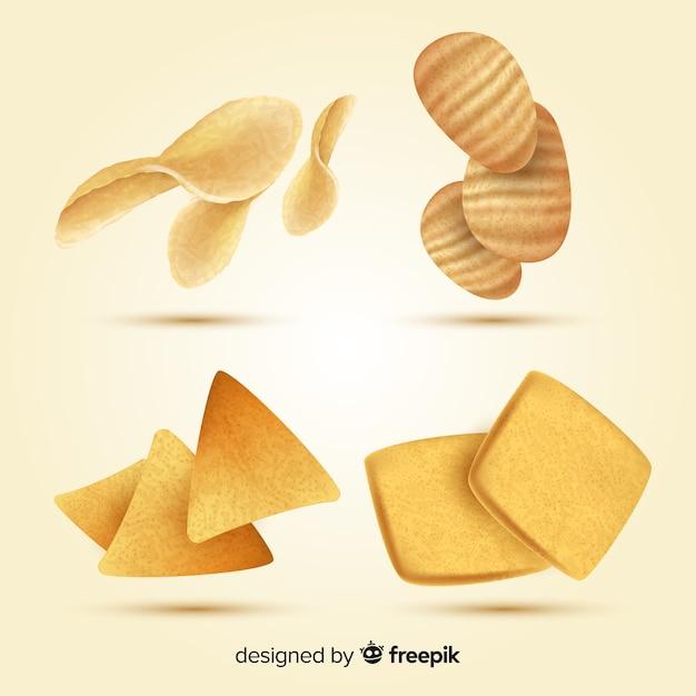 Deliziosa collezione di snack dal design realistico Vettore gratuito