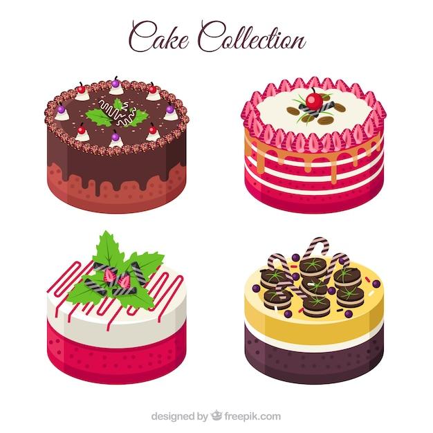 Deliziosa collezione di torte in stile piatto Vettore gratuito