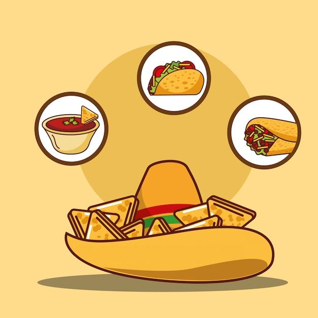 Deliziosa salsa nacho al cappello e taco e burrito Vettore Premium