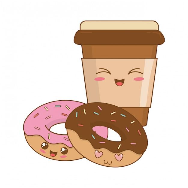 Deliziose ciambelle dolci e personaggi caffè kawaii Vettore Premium