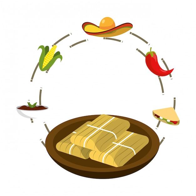 Delizioso cartone animato cibo messicano Vettore Premium