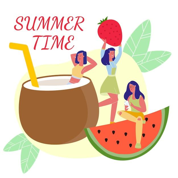 Delizioso cibo estivo. estate Vettore Premium