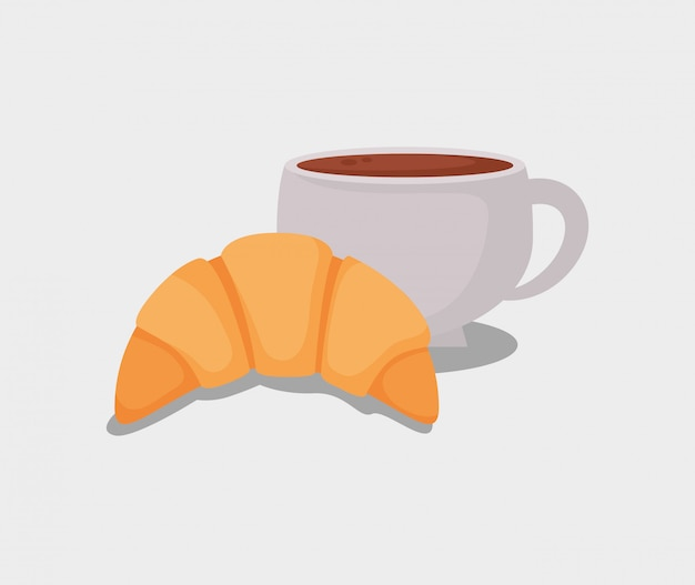 Delizioso cornetto e tazza di caffè Vettore Premium
