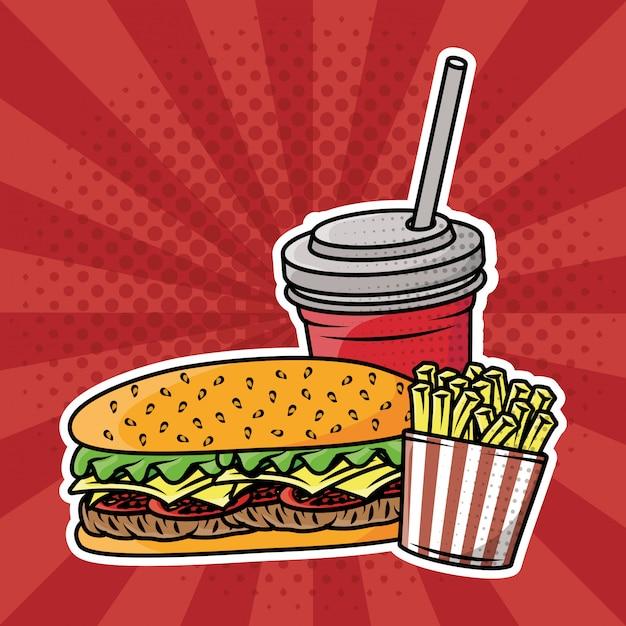 Delizioso fast food in stile pop art Vettore gratuito