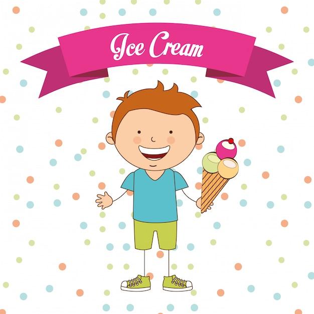 Delizioso gelato Vettore Premium