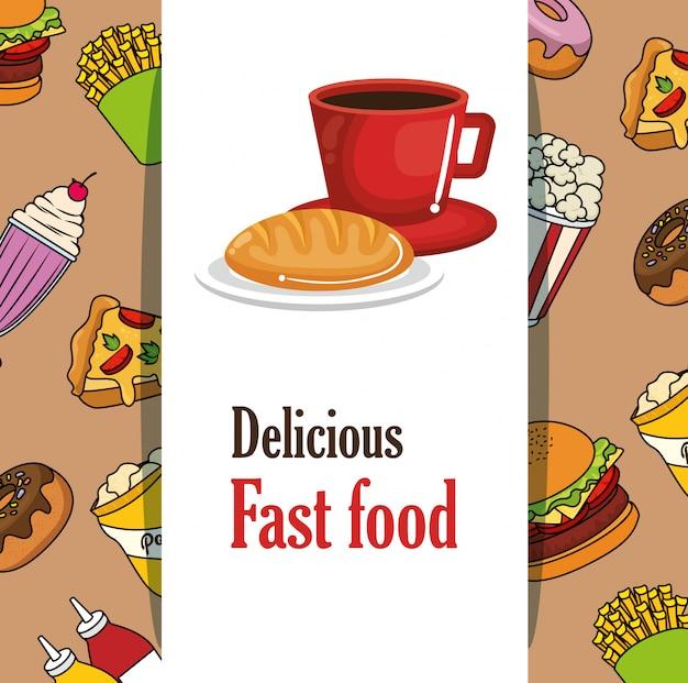 Delizioso menu di fast food Vettore gratuito