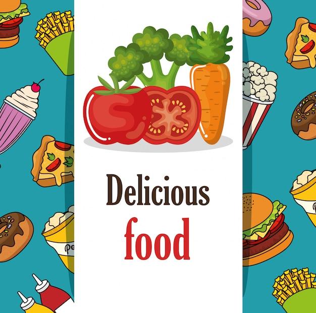 Delizioso menu fast food Vettore gratuito