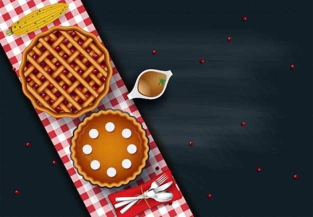 Delizioso pollo arrosto intero o tacchino sul piatto con posate e salsa, verdure grigliate di raccolta, vista dall'alto. cibo del giorno del ringraziamento Vettore Premium
