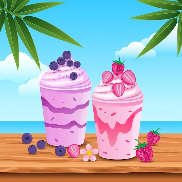 Delizioso succo di frutta in estate Vettore Premium