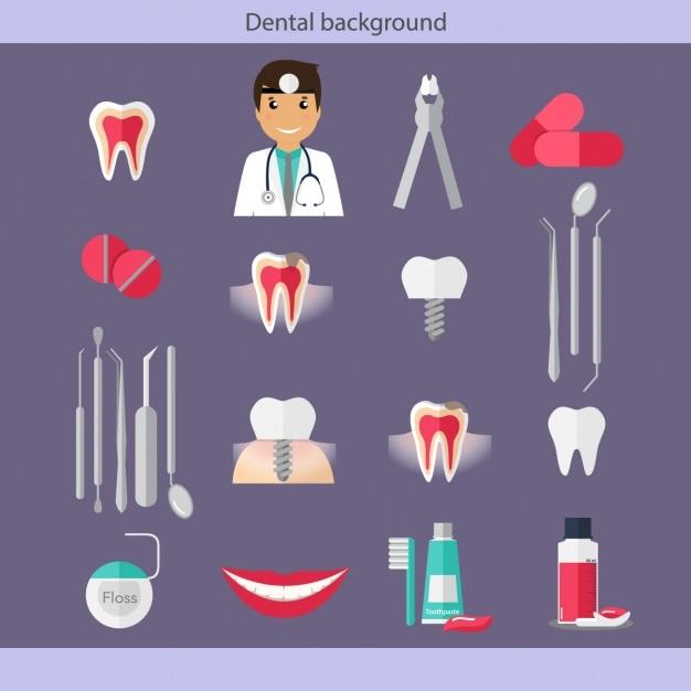 Dental collezione icone di assistenza Vettore gratuito