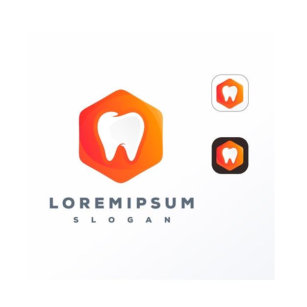 Dentale colorato con logo hexagone Vettore Premium