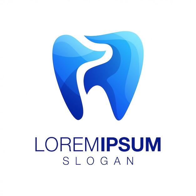 Dente gradiente colore logo design vettoriale Vettore Premium
