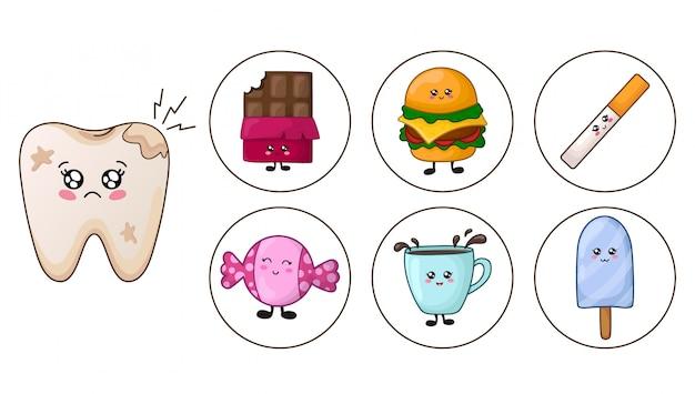Dente kawaii - carie e cibo spazzatura, concetto di cure dentistiche Vettore Premium