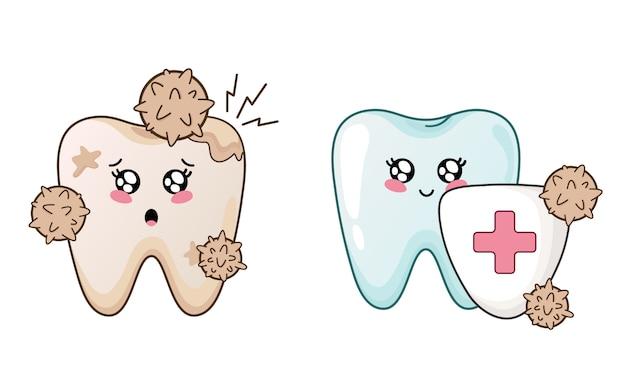Dente sano e doloroso del fumetto di kawaii Vettore Premium